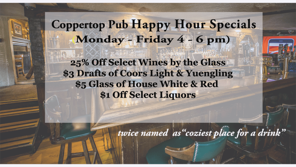Coppertop Pub Happy Hour 4-2017