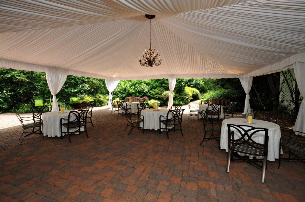 Grain House Tented Patio with Chandelier