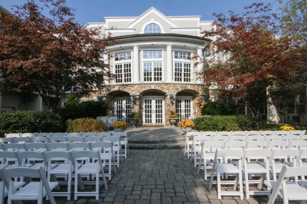 Olde Mill Inn Courtyard Set for Wedding